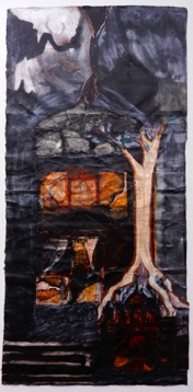 Earth, Darkness Mixed Media on  Nepalese Paper, 112 x 54cm