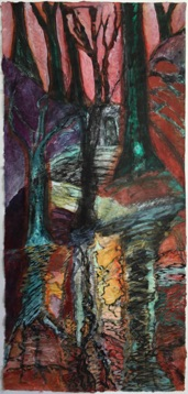 Silent Wood,  Mixed Media on  Nepalese Paper,  113 x 53cm