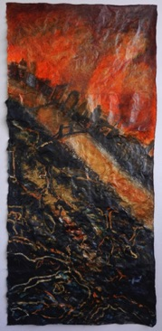 Below the Surface Mixed media on Nepalese paper, 111 x 52cm