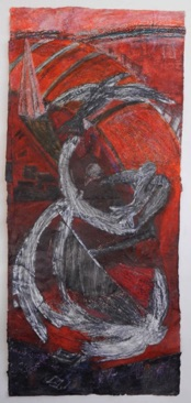 Crows, Red Drawing Mixed media on Nepalese paper, 112 x 50cm