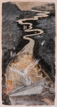Estuary Wreck, White Birds,  Mixed media on  Nepalese paper 48 x 25cm