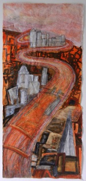River Towards Canary Wharf, Mixed media on Nepalese paper 112 x 50cm