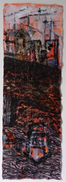 Canary Wharf Mixed media on Nepalese paper, 79 x 27cm