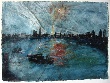 Fireworks, Rotherhithe Mixed media on Nepalese paper, 20 x 28cm