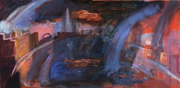 Storm, Rotherhithe Acrylic on Board 38 x 76cm