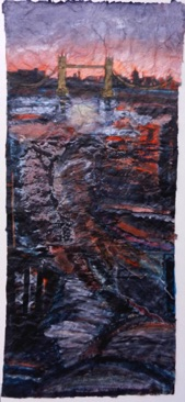 River, Rotherhithe, Evening Mixed media on Nepalese paper, 112 x 50cm