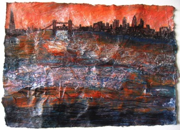 Ship of Fire,  Towards Tower Bridge Mixed media on Nepalese paper, 20 x 28cm Sold - Private Collection
