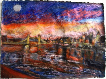 Tower Bridge Sunset Mixed media on Nepalese paper, 20 x 28cm Sold - Private Collection