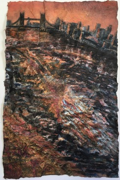 Black & Orange River Mixed Media on Nepalese Paper, 72 x 47cm