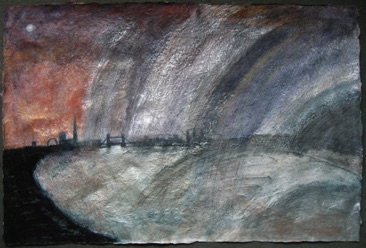 Silver Rain Storm Mixed media on Nepalese paper, 51 x 77cm