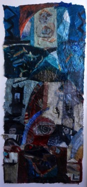 The Journey Mixed media on Nepalese paper, 127 x 59cm Sold - Private Collection
