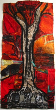 Growing Together - Ta Prohm Temple, Cambodia Mixed media on Nepalese paper, 141 x 68cm